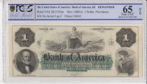 USA 1 dollar, Bank of America, Providence - 1860 - PCGS 65OPQ