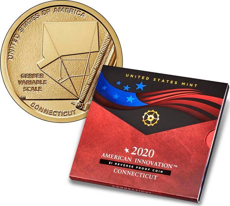 USA 1 Dollar  Innovation Connecticut 2020 S San Francisco Proof