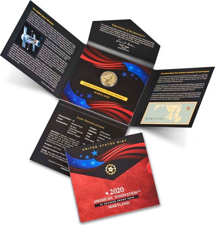 USA 1 Dollar Innovation Maryland Hubble  2020 S San Francisco Proof