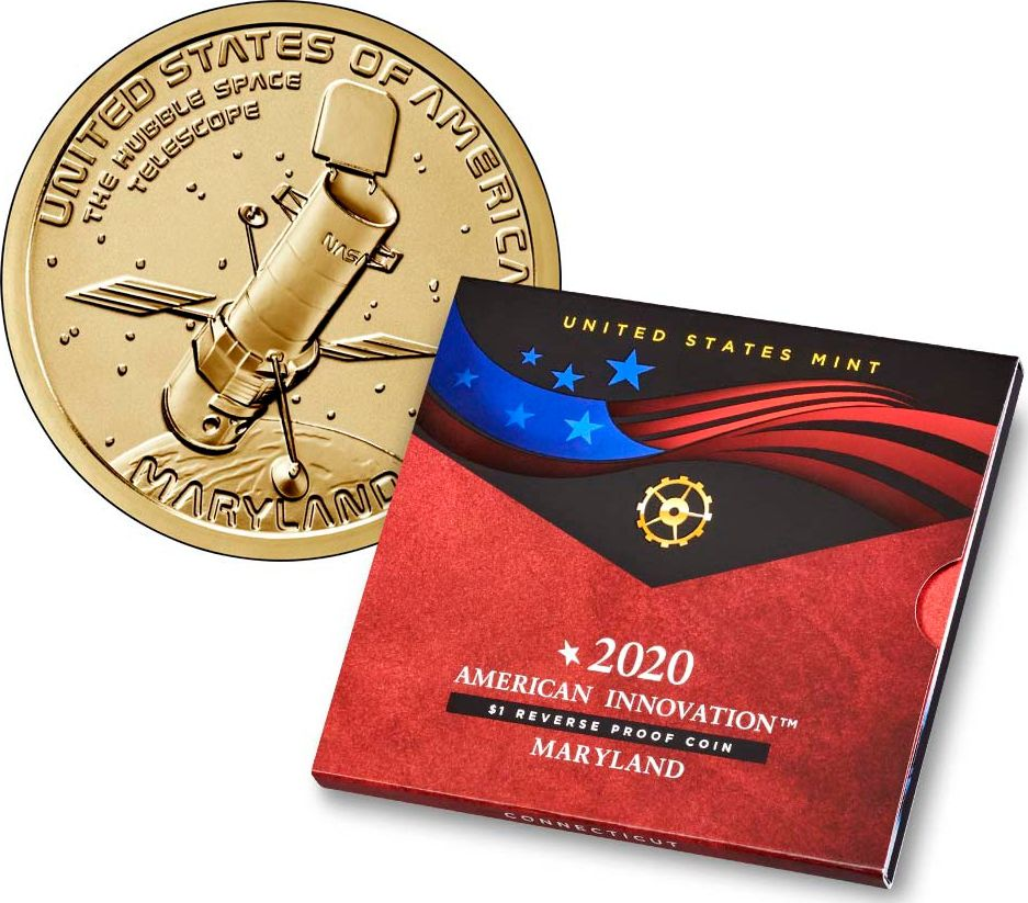 USA 1 Dollar Innovation Maryland Téléscope Hubble 2020 S San Francisco Proof