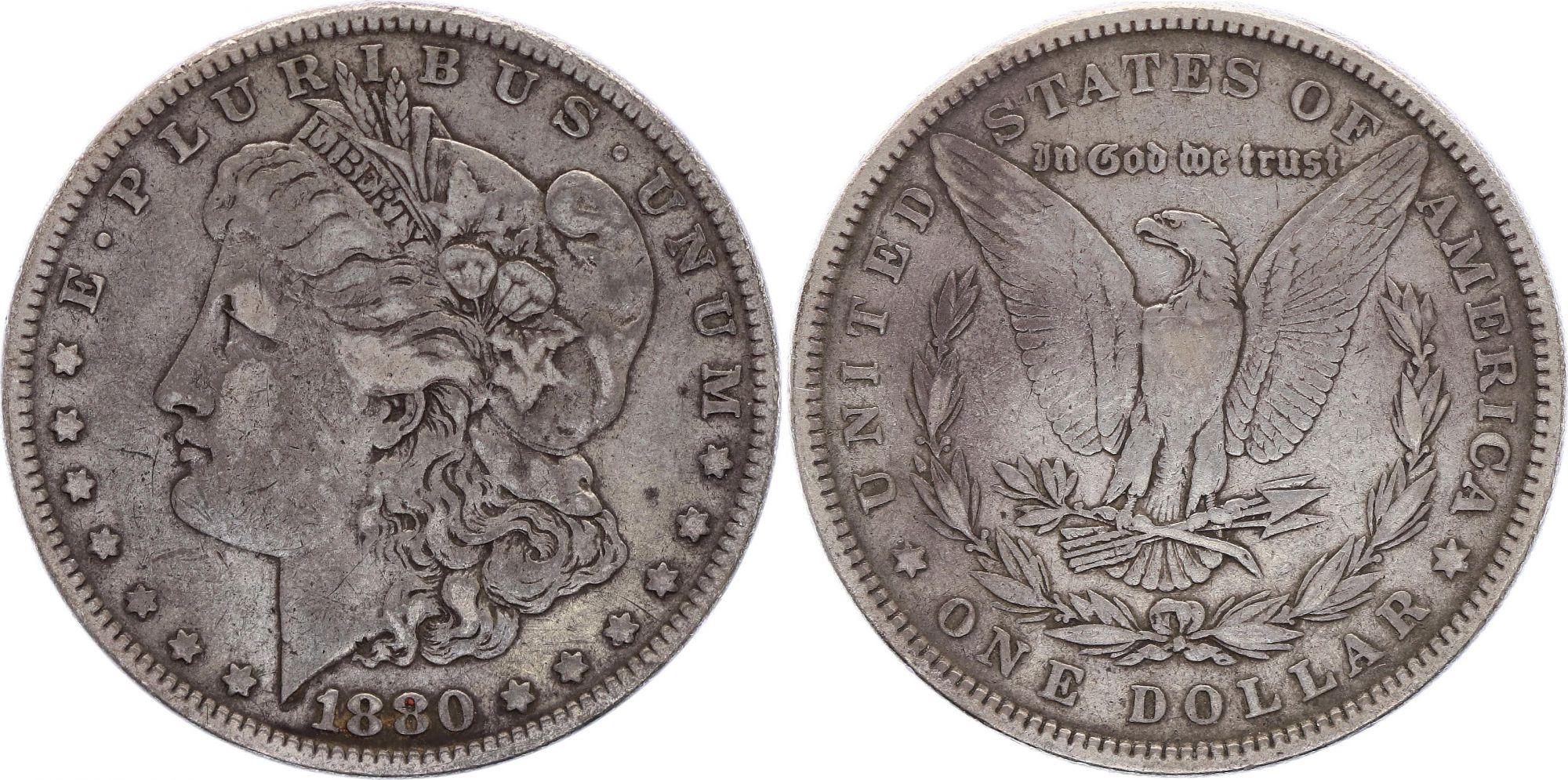 USA 1 Dollar Morgan - Aigle 1880 - Argent sans atelier - TB - 2nd ex