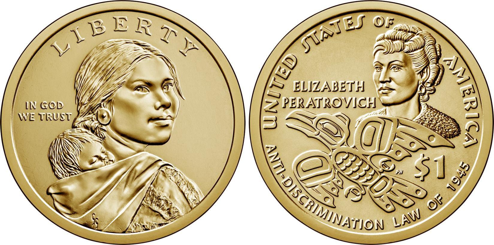 USA 1 Dollar Native American - Elisabeth Peratrovich 2020 D Denver