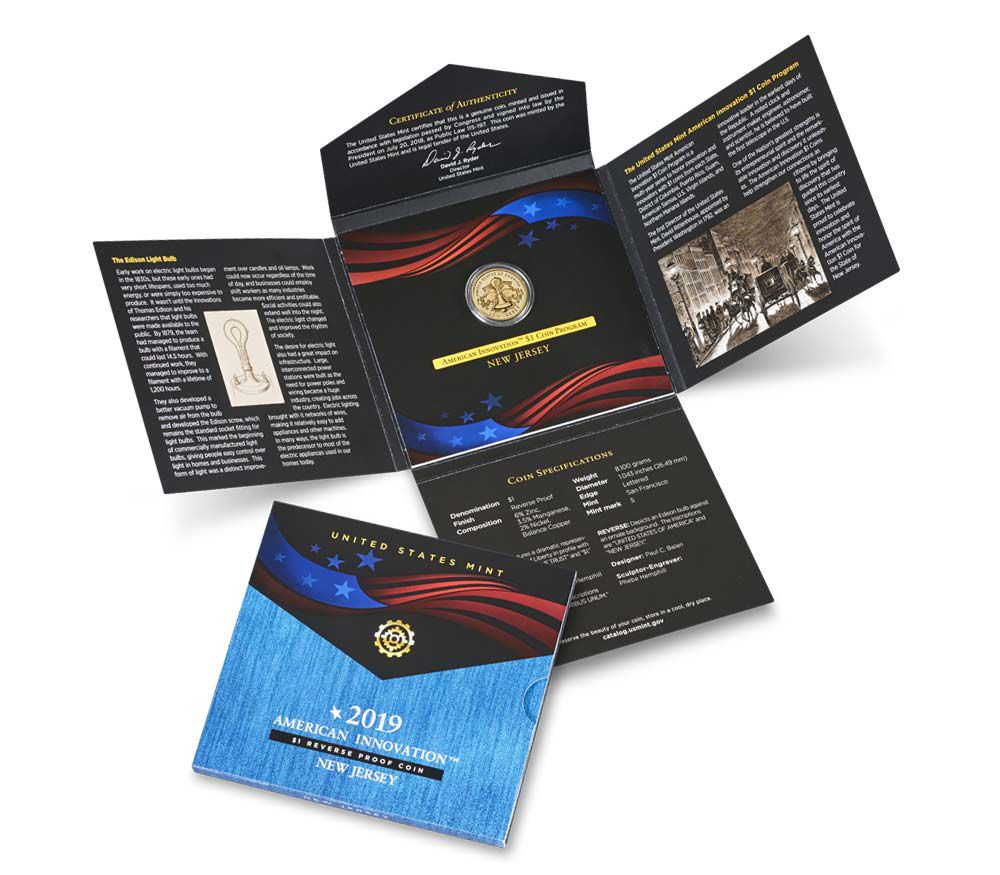 USA 1 Dollar New Jersey Innovation 2019 S San Francisco - Proof