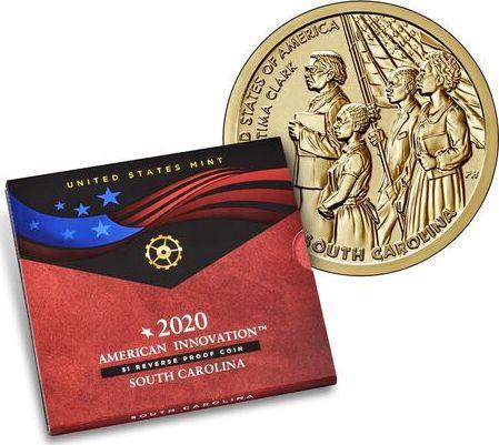 USA 1 Dollar Septima Clark Innovation 2020 S San Francisco - Caroline du Sud - Proof