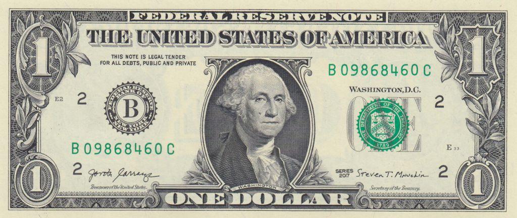 USA 1 Dollar Washington - 2017 - B2 New York - UNC - P.544