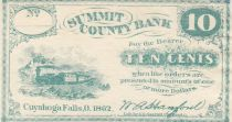 USA 10 Cents - Summit County Bank - 1862 - XF