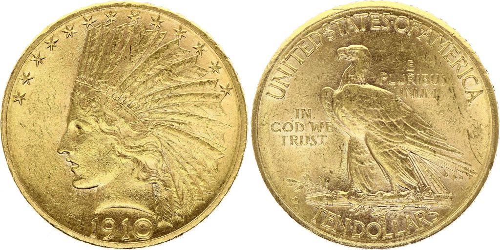 USA 10 Dollars Tête Indien - Aigle 1910 D Denver