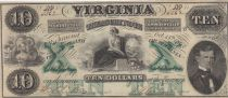 USA 10 Dollars Virginia Treasury note - 1862  - UNC