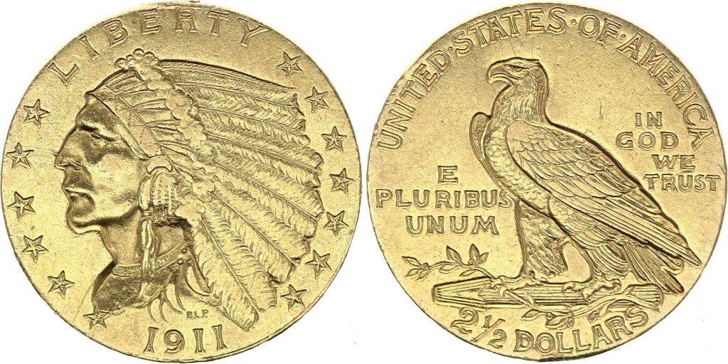 USA 2 1/2 Dollars, Indian head - Eagle 1911