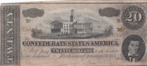 USA 20 Dollars A. H. Stephens - Confederate States - 1864 - F to VF - P.69