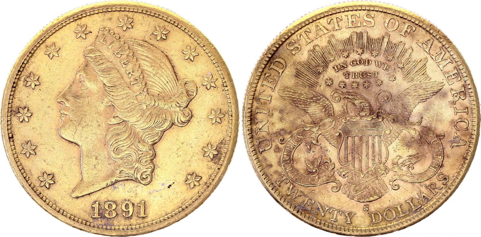 USA 20 Dollars Liberty - Aigle Coronet Head - 1891 S San Francisco Or