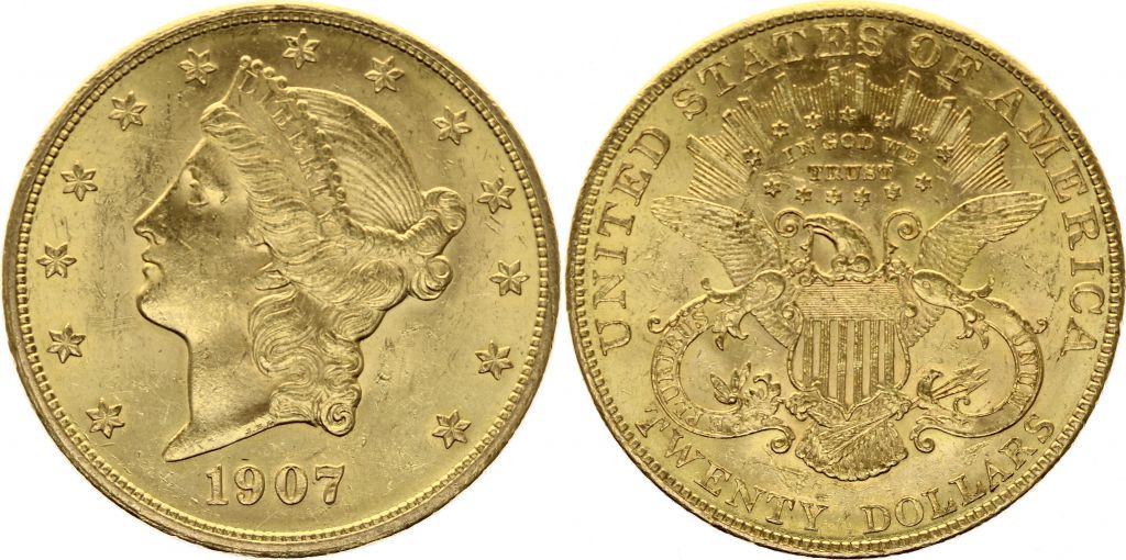 USA 20 Dollars Liberty - Aigle Coronet Head - 1907 Or