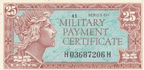 USA 25 Cents Military Cerificate - Série 611 - 1964