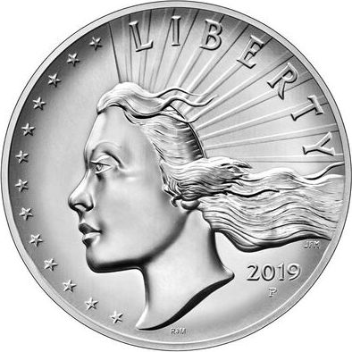 USA 2.50 Once American Liberty 2019 - Eagle - Silver- High Relief