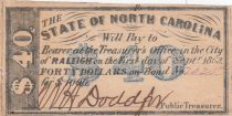 USA 40 Dollars - State of North Caolina - 1863 - SUP