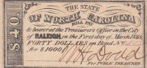 USA 40 Dollars - State of North Caolina - Raleigh - 1864 - SUP