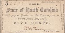 USA 5 Cents - State of North Carolina - 1866 - VF