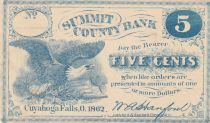 USA 5 Cents - Summit County Bank - 1862 - SUP