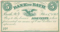 USA 5 Cents Bank of Bath - 1862 - SPL