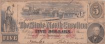 USA 5 Dollars - State of North Caolina - 1863 - TB