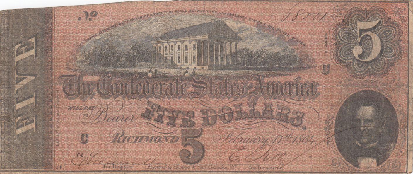 USA 5 Dollars C.G. Memminger - Confederate States - 1864 - Fine - P.67