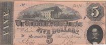 USA 5 Dollars C.G. Memminger - Confédérate States - 1864 - SPL - P.67
