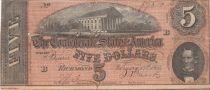 USA 5 Dollars C.G. Memminger - Confédérate States - 1864 - TB+ - P.67