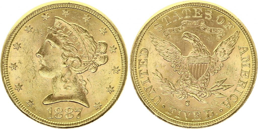 USA 5 Dollars Liberty - Aigle 1887 S San Francisco Or