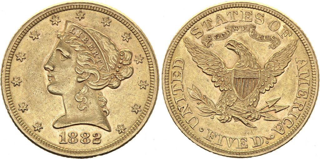 USA 5 Dollars Liberty - Aigle Coronet Head - 1882 Or