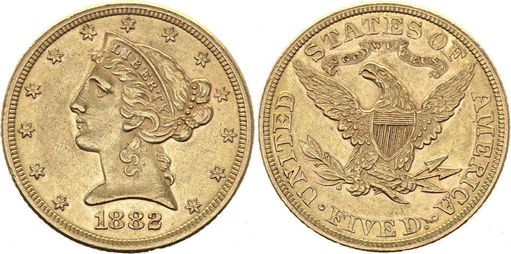 USA 5 Dollars Liberty - Eagle Coronet Head - 1882 Gold