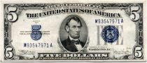 USA 5 Dollars Lincoln - Blue Seal  - 1934 - VF