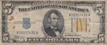 USA 5 Dollars Lincoln - Yellow seal 1934 A - Fine - P.414 AY