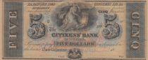 USA 5 Dollars of Citizen Bank - Louisiane - 18xx - SPL