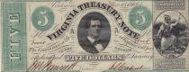 USA 5 Dollars Virginia Treasury note - 1862  - NEUF