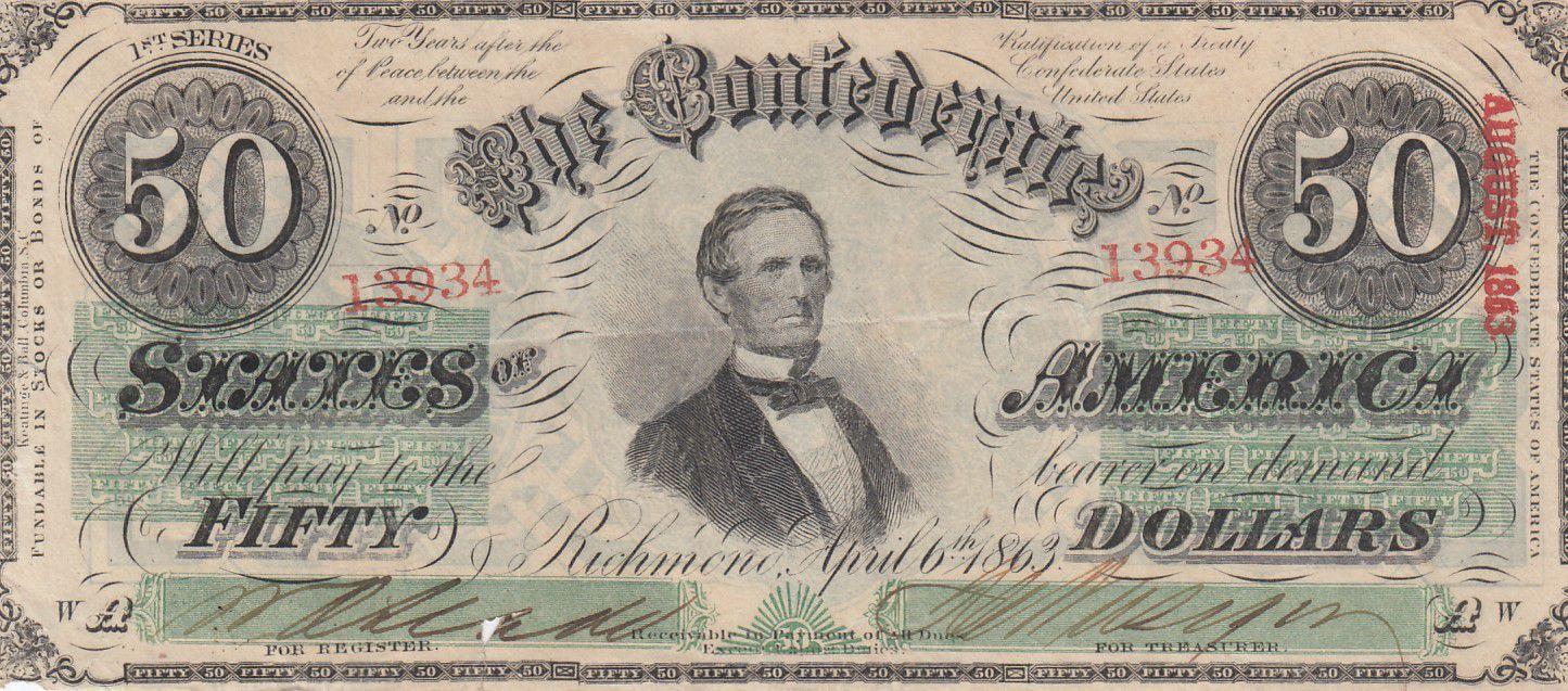 USA 50 Dollars Jefferson Davis - Confédérate States - 1863 - TTB - P.62