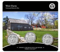 USA Folder 3 x 1/4 Dollar - Weir Farm - 2020