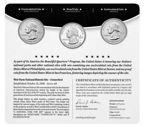 USA Folder 3 x 1/4 Dollar - Weir Farm - 2020