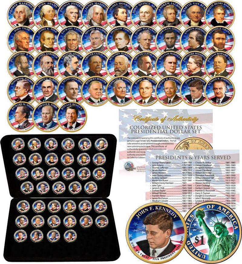 USA Série 39 x 1 dollar Présidents colorisés - en coffret