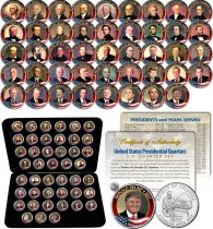 USA set of 45 quarter - US Presidents - Colorized on DC quarters - in box