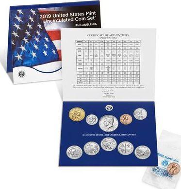 USA Uncirculated Coin Set BU Philadelphia (P) 2019 - 10 coins