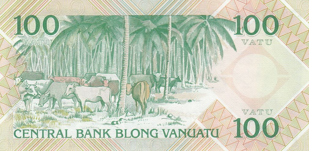 Vanuatu 100 Vatu 1982 - Melanesian local chief, cows - Prefix AA