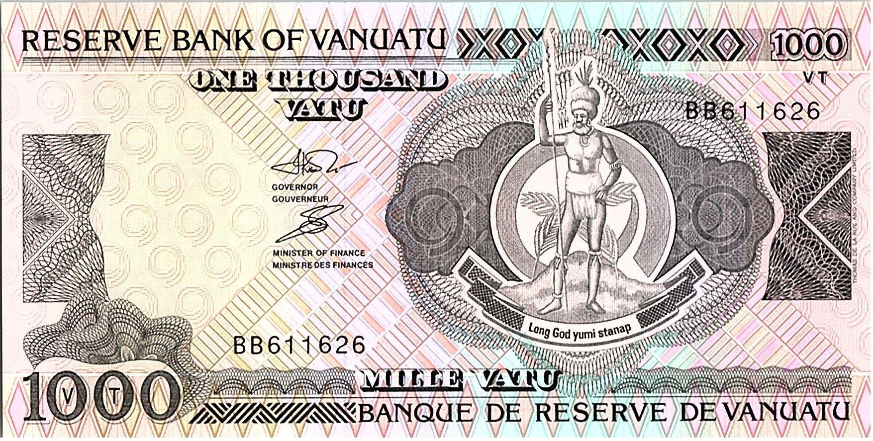 Vanuatu 1000 Vatu  - Chef Mélanésien, Bateau polynésien - 1993 Préfixe BB
