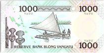 Vanuatu 1000 Vatu - Melanesian local chief, Polynesian boat - 1993 Prefix BB