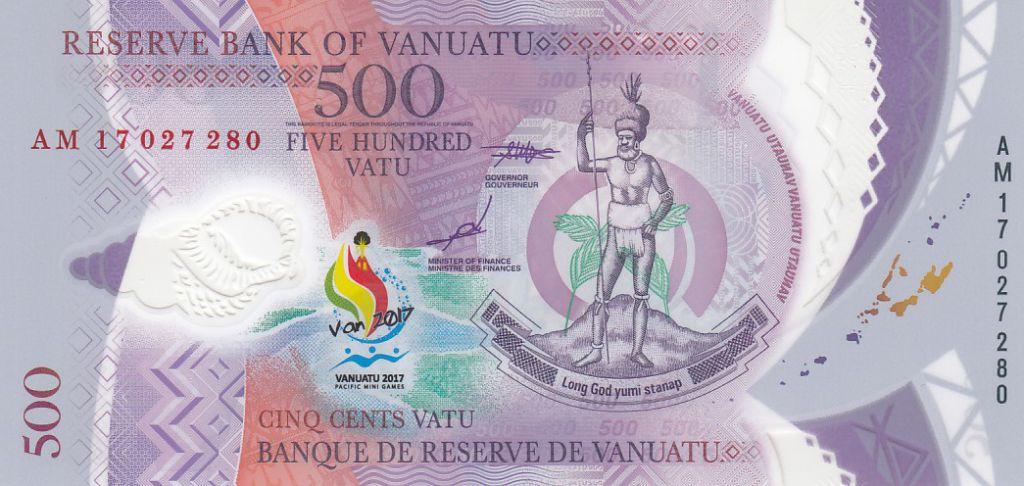 Vanuatu 500 Vatu - Chef Mélanésien - 2017 (2019) Polymer - Pacific Mini Games