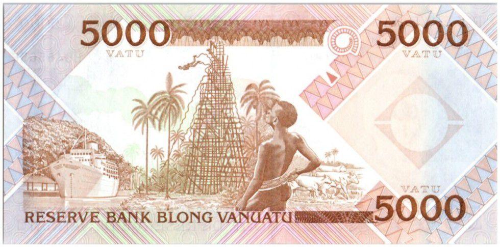 Vanuatu 5000 Vatu Chef Mélanésien - Tour en bois - 2007