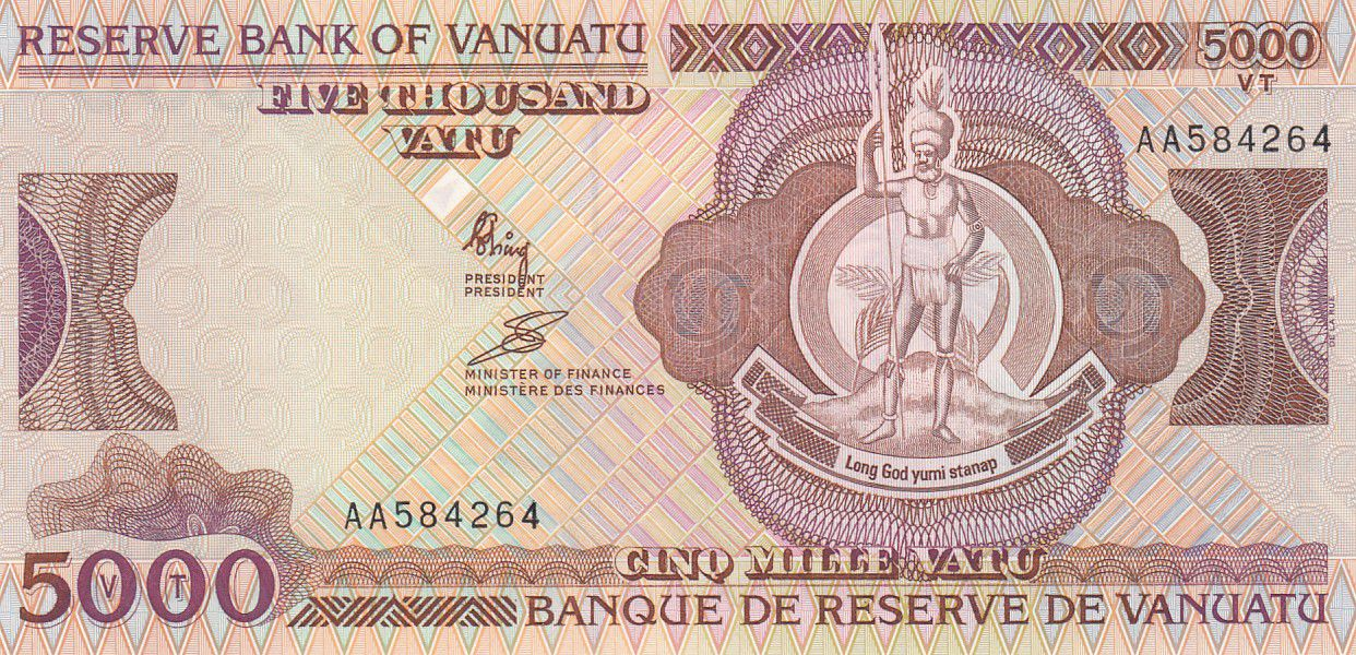 Vanuatu 5000 Vatu Melanesian chief - Log tower - 1995
