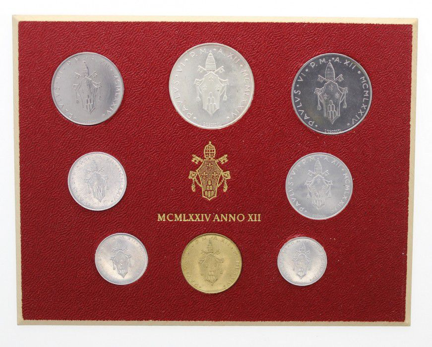 Vatican City State Mint set of 8 coins Paul VI 1974 Roma