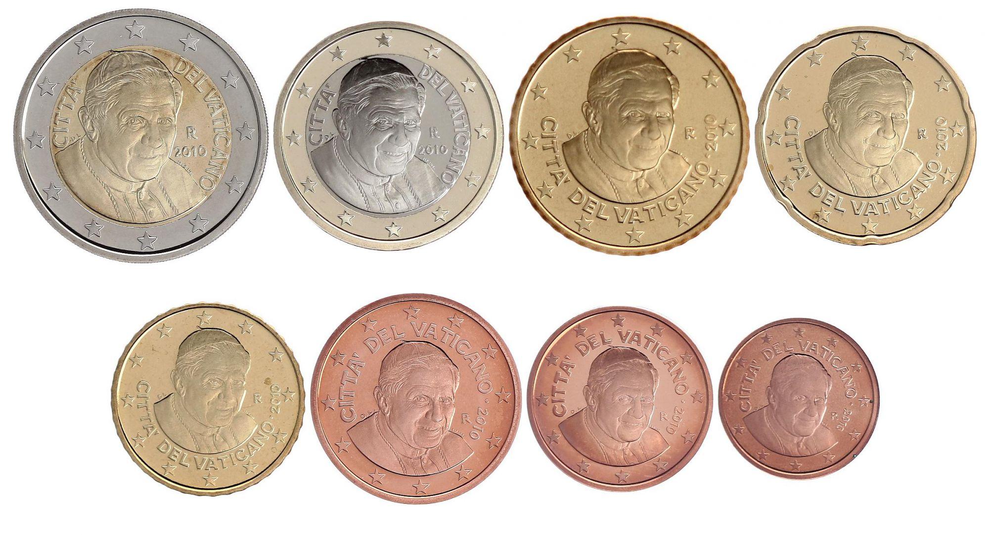Vatican City State Set of 8 coins 2010 - Benoit XVI - Proof