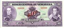 Venezuela 10 Bolivares,  Simon Bolivar - Antonio Jose de Sucre - 1972 -  Muestra