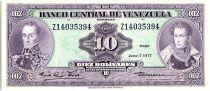 Venezuela 10 Bolivares,  Simon Bolivar - Antonio Jose de Sucre - 1977